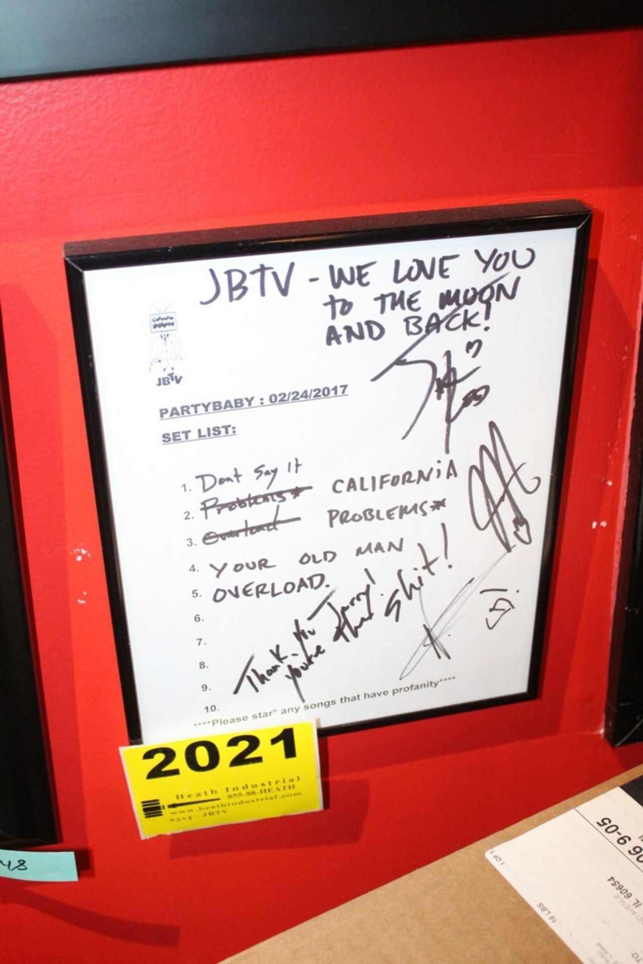 Lot 2021 - Partybaby Signed JBTV Framed Set List