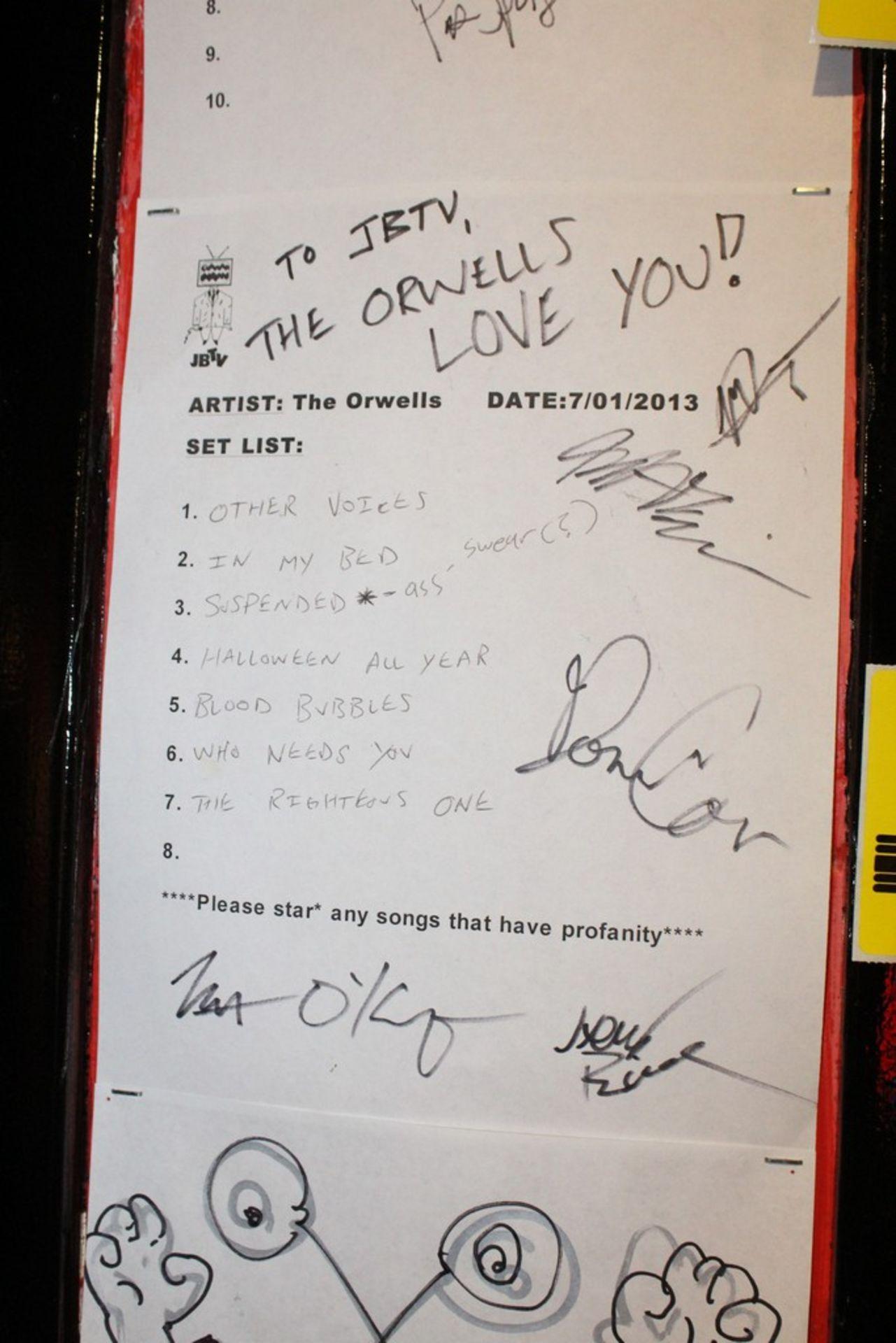 Lot 2030 - The Orwells Signed JBTV Set List