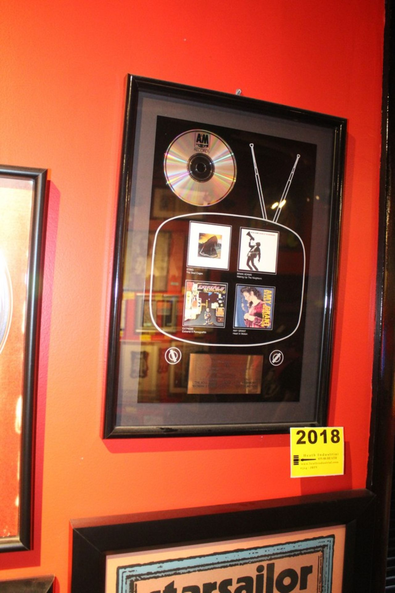 Lot 2018 - A&M Records Platinum Commemerative Display for Bryan Adams, Extreme, Amy Grant and Sting