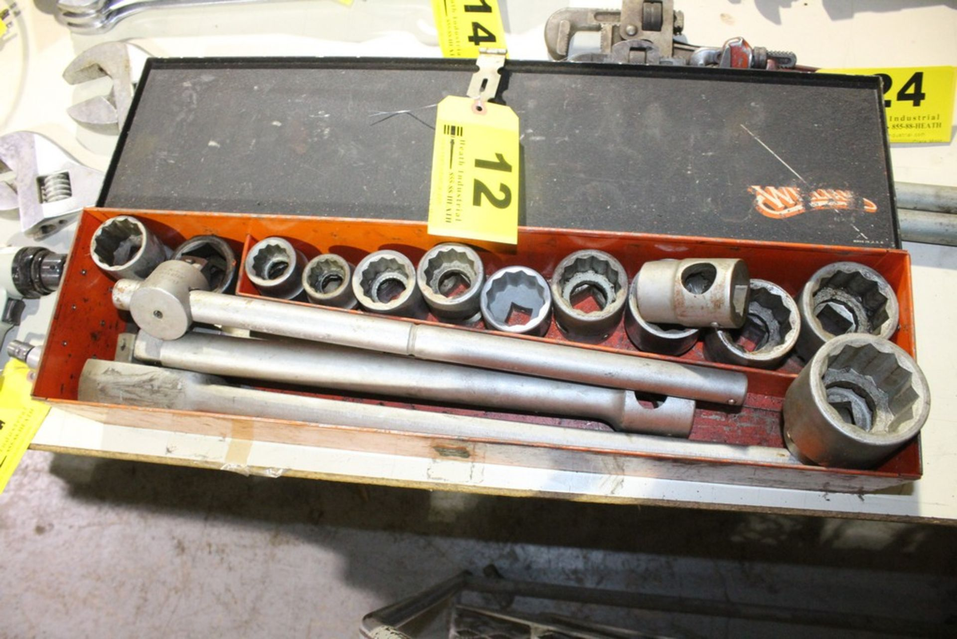 """Lot 12 - WILLIAMS 1"""" SOCKET SET WITH RACHET, BREAKER BAR AND EXTENSION"""