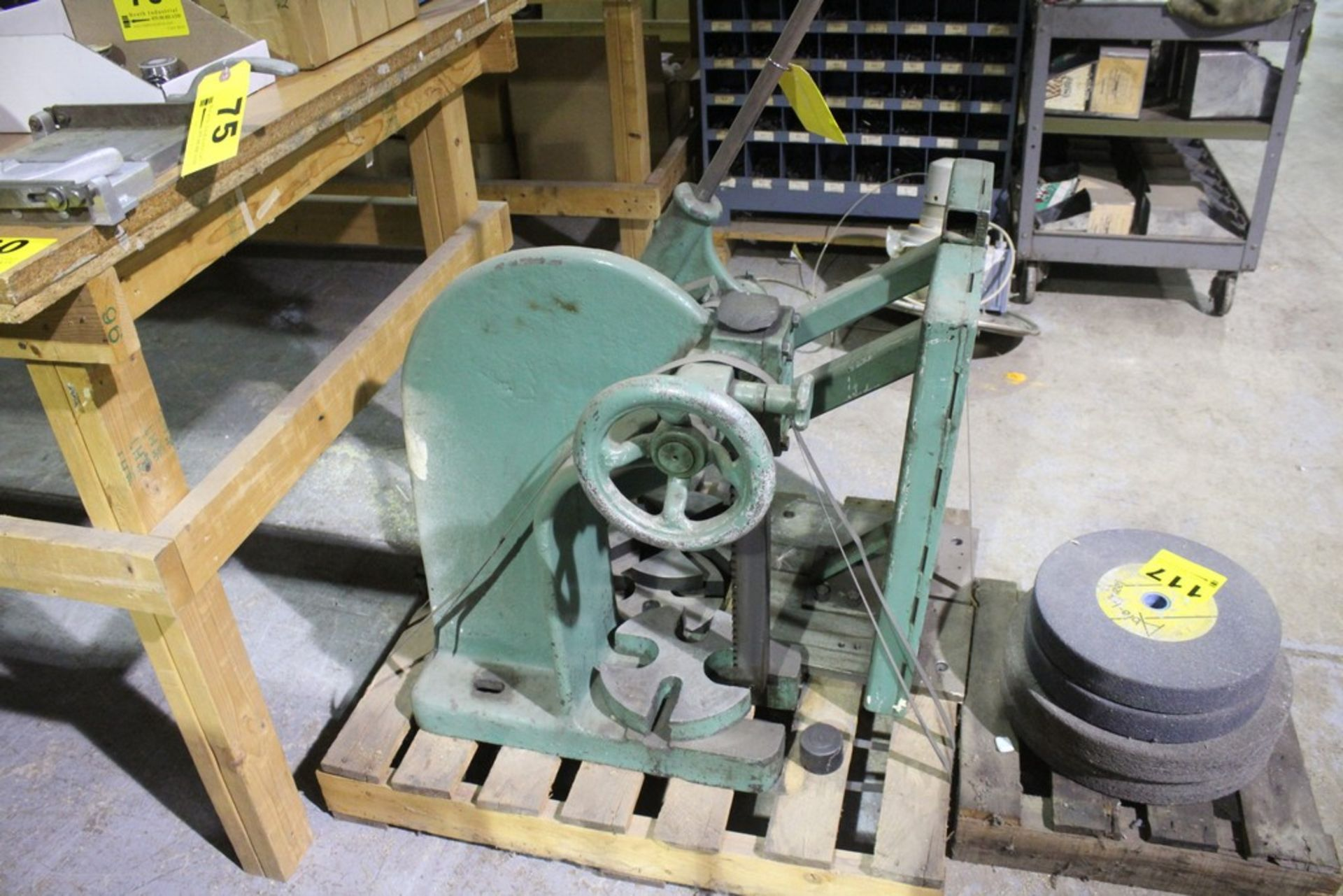 Lot 1 - FAMCO 3 1/2R 5 TON ARBOR PRESS WITH HEAVY DUTY WALL SUPPORT STAND, FOUR PRESS PLATES