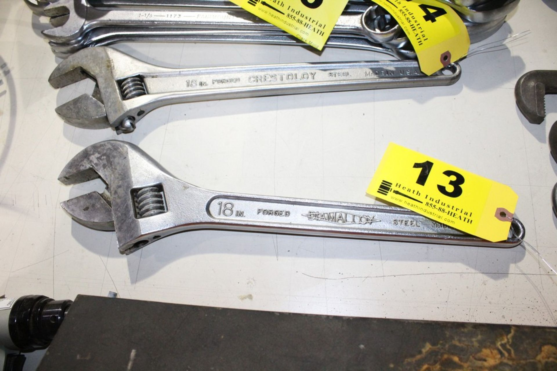 "Lot 13 - DIAMALLOY 18"" ADJUSTABLE STEEL CRESCENT WRENCH"