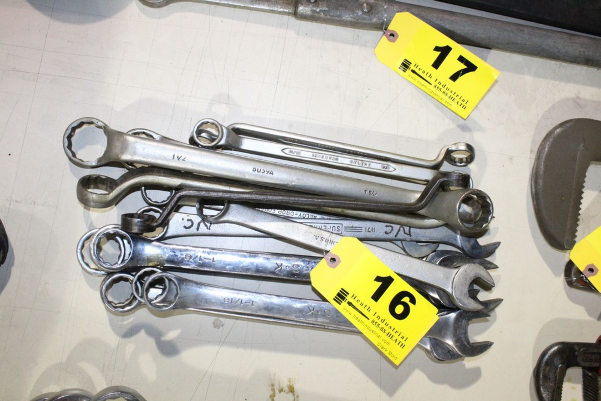 Lot 16 - (15) LARGE COMBINATION WRENCHES VARIOUS SIZES