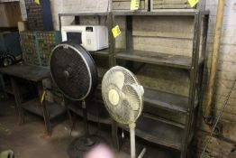 (2) ADJUSTABLE SHELVING UNITS WITH (2) FANS AND MICROWAVE