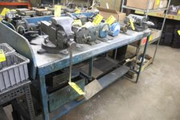 """STEEL WORKBENCH WITH 5"""" BENCHTOP VISE AND MOUNTED DRILL FIXTURE"""