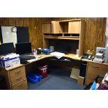 CORNER OFFICE DESK WITH FILE CABINET