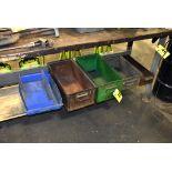 ASSORTED STEEL AND PLASTIC BINS UNDER BENCH