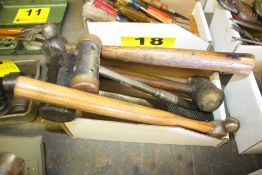 (5) ASSORTED HAMMERS & MALLETS IN BOX