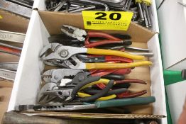 ASSORTED PLIERS, CHANNEL LOCKS, WIRE STRIPERS, SNAP RIING PLIERS, ETC