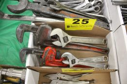 (2 PIPE WRENCHES & (3) CRESCENT WRENCHES