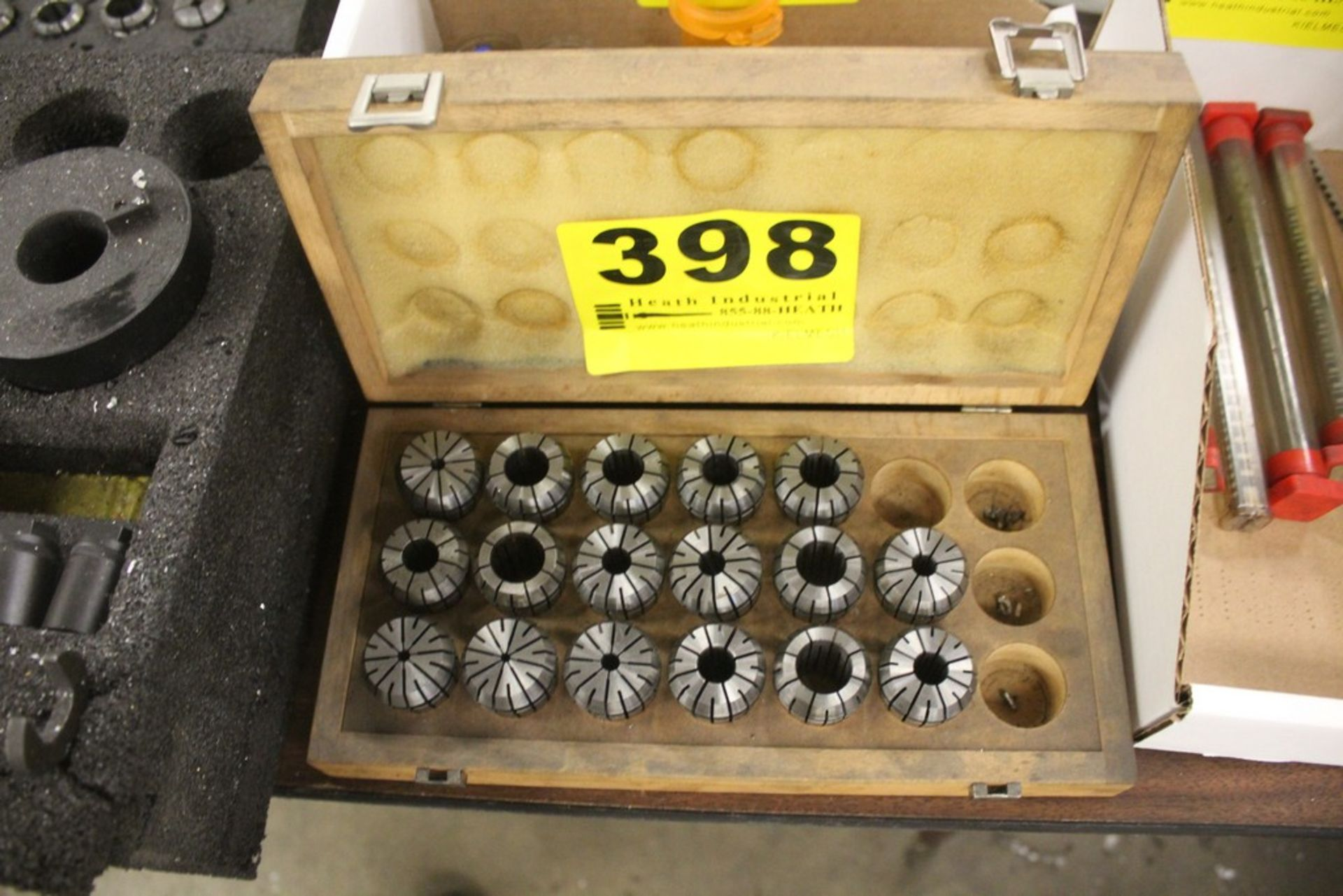 Lot 398 - (17) SPRING COLLETS IN WOOD CASE