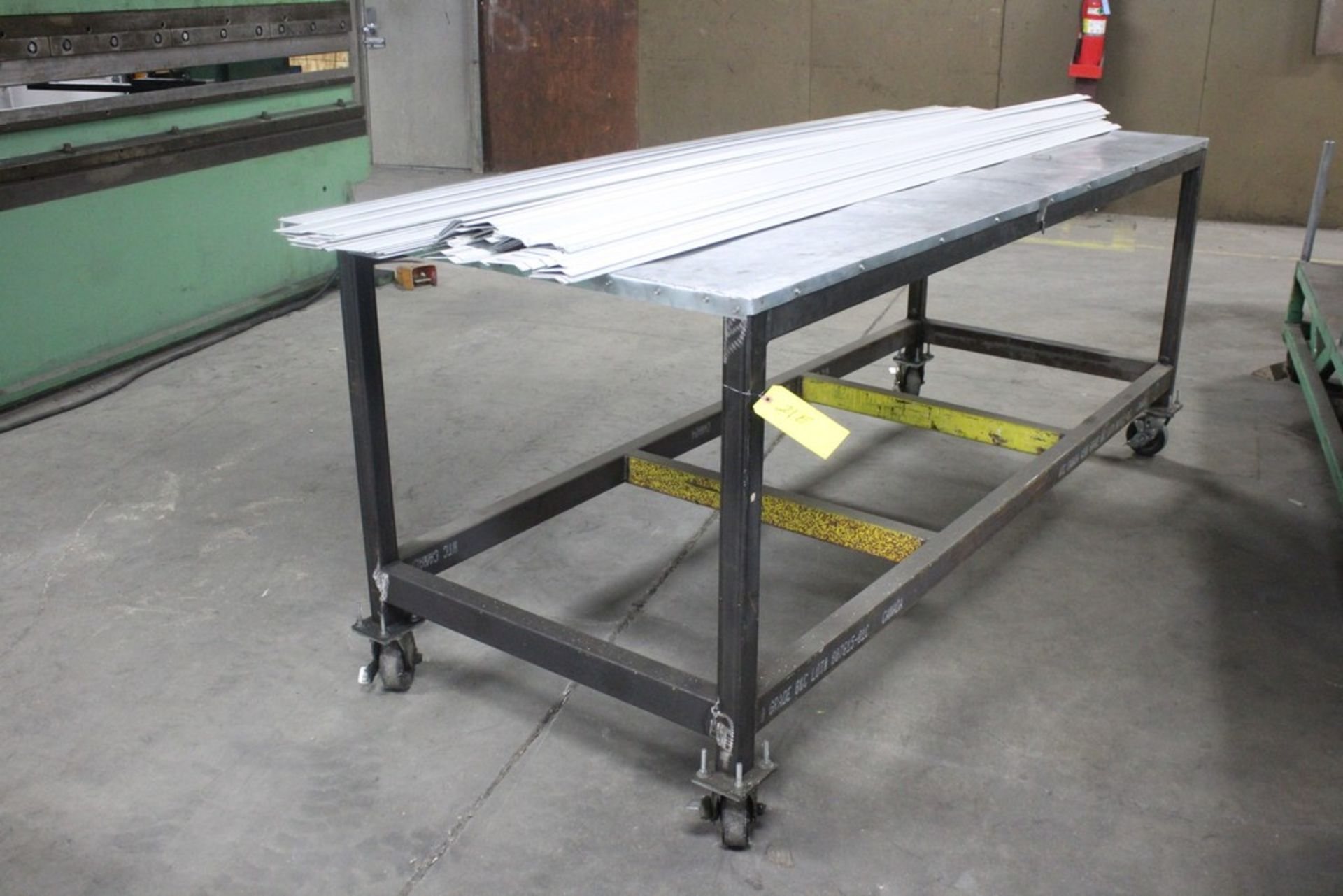 "Lot 21E - 42"" x 96"" x 30"" H Heavy Duty Work Table Mounted on Heavy Duty Casters"