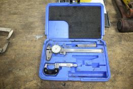 """Lot: 1"""" Micrometer & 6"""" Dial Calpier Set in Box"""