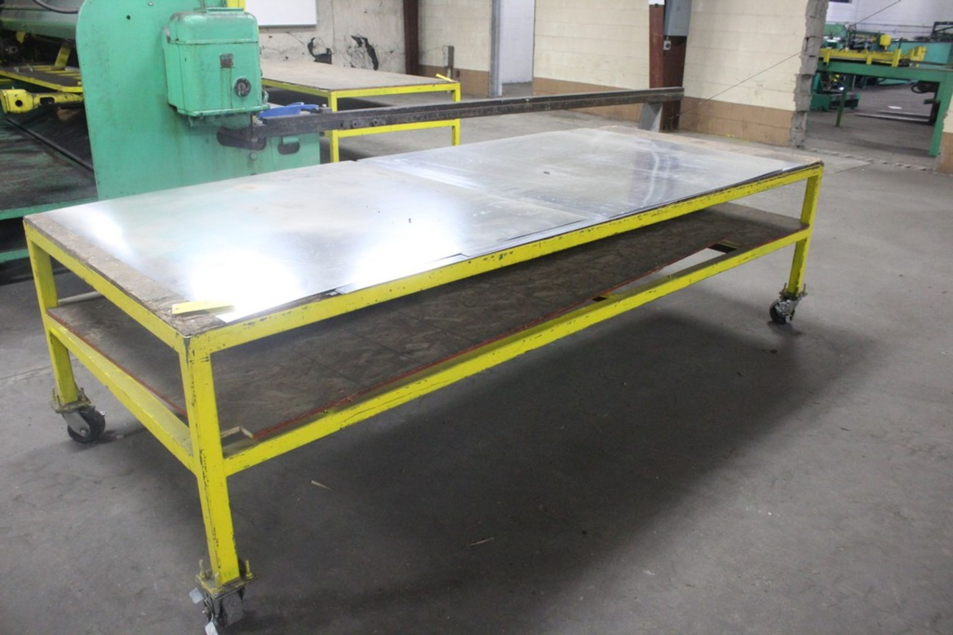 "Lot 21B - 48"" x 120"" x 33"" H Heavy Duty Work Table Mounted on Heavy Duty Casters"