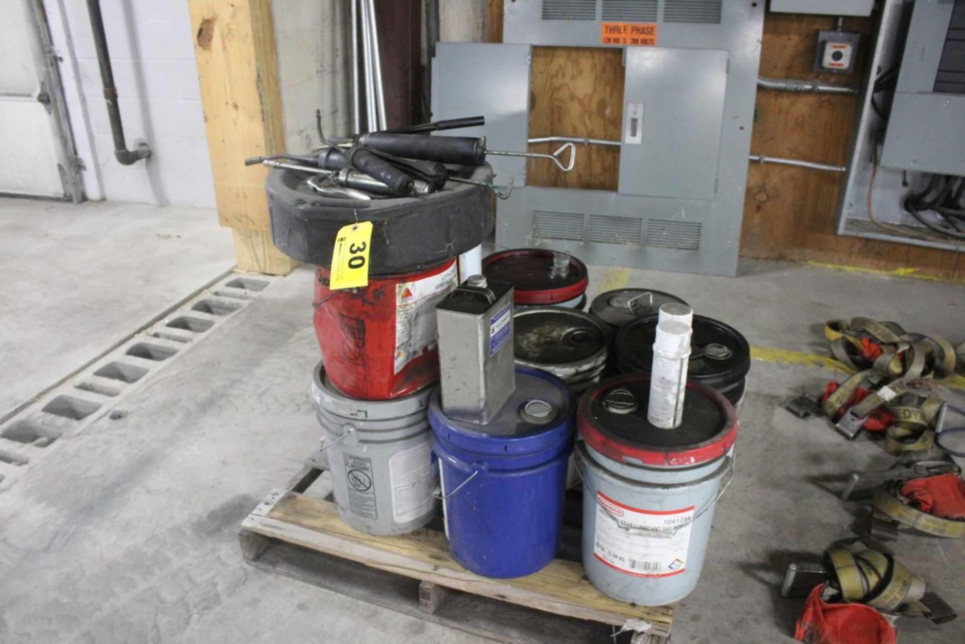 Assorted Grease Guns & Lubricants On Pallet