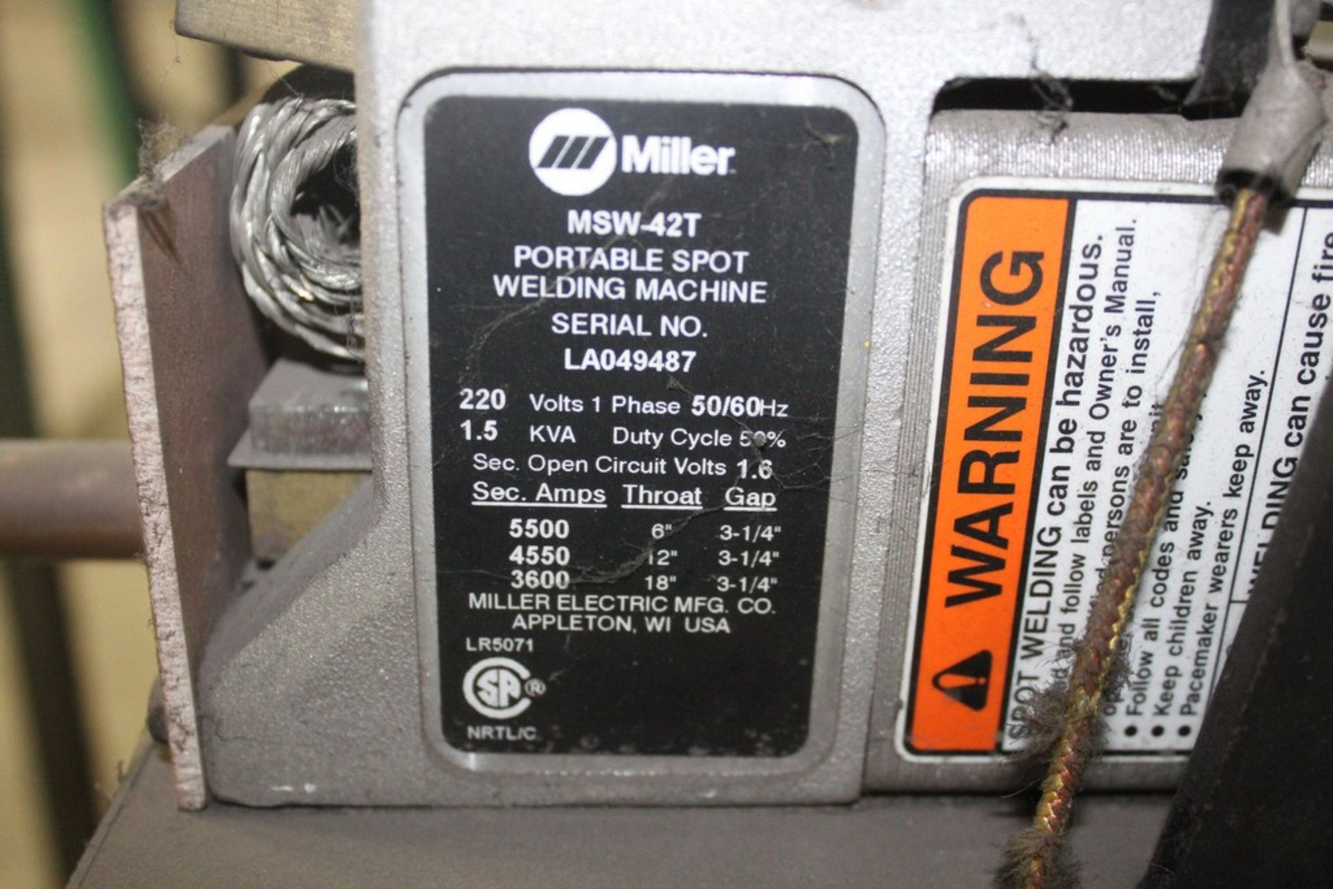 Miller Model MSW-42T Single Phase 1.5 KVA Spot Welder, Serial Number: LA049487 - Image 4 of 5