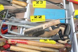 ASSORTED TOOLS, INCLUDING SAWS, WIRE BRUSHES, MAGNETS, ETC.