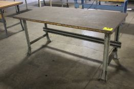 "STEEL SHOP TABLE WITH WOOD TOP, 33-1/2"" X 72"" X 36"""