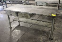 "STEEL SHOP TABLE WITH TWO DRAWERS, 34"" X 72"" X 34"""