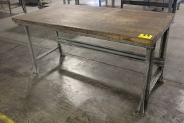 "STEEL SHOP TABLE WITH WOOD TOP, 35-1/2"" X 72"" X 36"""