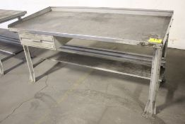 "STEEL SHOP TABLE WITH DRAWER, 34"" X 72"" X 28"""