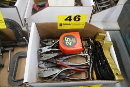 PLIERS & ASSORTED HAND TOOLS IN BOX