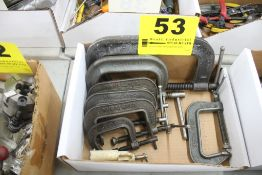 (8) ASSORTED C-CLAMPS IN BOX