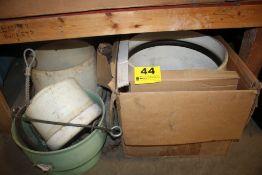 ASSORTED PLASTIC FITTINGS & MISC ON SHELF & FLOOR