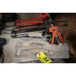 CEMENT TROWELS, CAULK GUNS & MARKING RIBBON