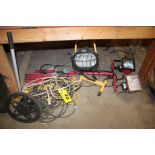 ASSORTED ELECTRICAL WIRE, LIGHTS & MEASURING WHEEL