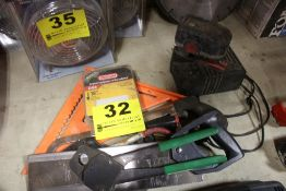 ASSORTED TOOLS INCLUDING SPEED SQUARE, HACK SAW, BOSCH CHARGER & BATTERY, ETC