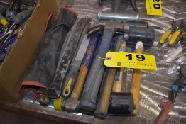 ASSORTED HAMMERS, PRY BARS, ETC