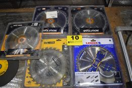 "(5) 10"" CARBIDE SAW BLADES, EVOLUTION, DEWALT, ETC"