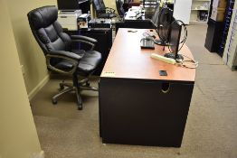 DESK, EXECUTIVE CHAIR, (2) FILE CABINETS