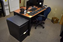 DESK WITH EXECUTIVE CHAIR, (4) FILE CABINETS, SHELVING UNIT