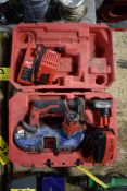 MILWAUKEE 12V LITHIUM CORDLESS PORTABLE BAND SAW WITH (2) BATTERIES & CHARGER, CASE