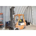 Toyota forklift model 42-4FGC25, sn 19517, 3stage, X-tall, side shift, hard rubber, runs needs