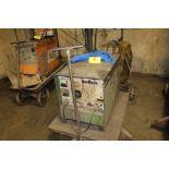 Miller welder MP-306, sn NA, twin wire feed boom, on steel cart.