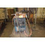 Miller welder CP300, sn KC322163, wire feed boom, on cart.