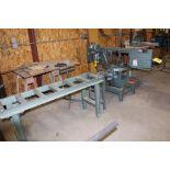 "Ellis, mitre horizontal bandsaw, model 1600, sn 16956422, w/5'x 16"" roller conveyor."