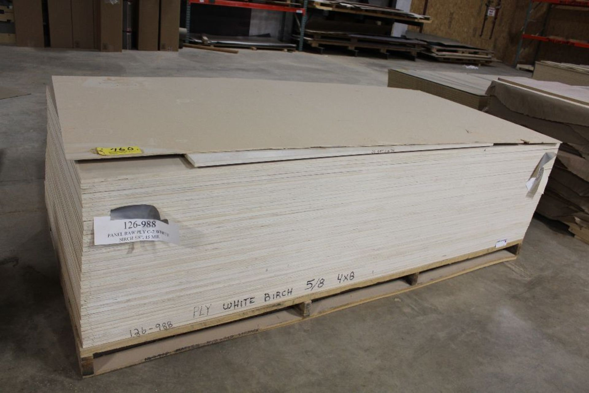 "Lot 760 - Lumber, (41) plywood white birch 5/8"" x 4 x 8."