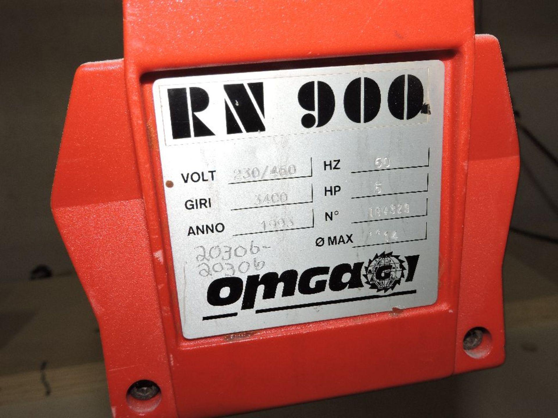 "Lot 018 - OMGAGA radial arm saw, model RN900, sn 20306, 5 hp., w/47"" x 179"" lay off table, voltage 230/460."