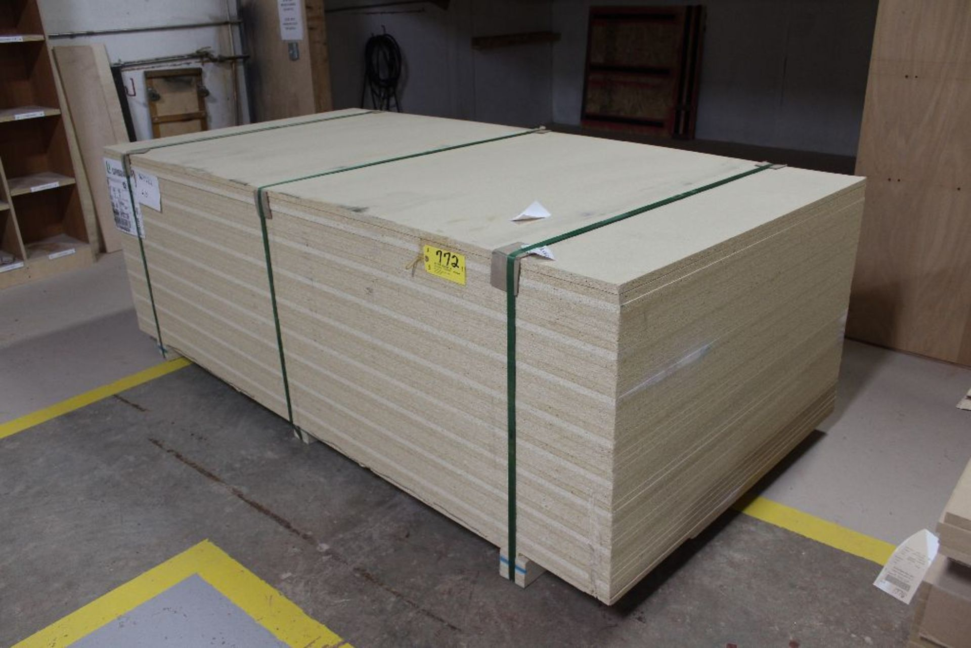 """Lot 772 - Lumber, (40) plywood particle board, 3/4"""" x 49"""" x 97""""."""