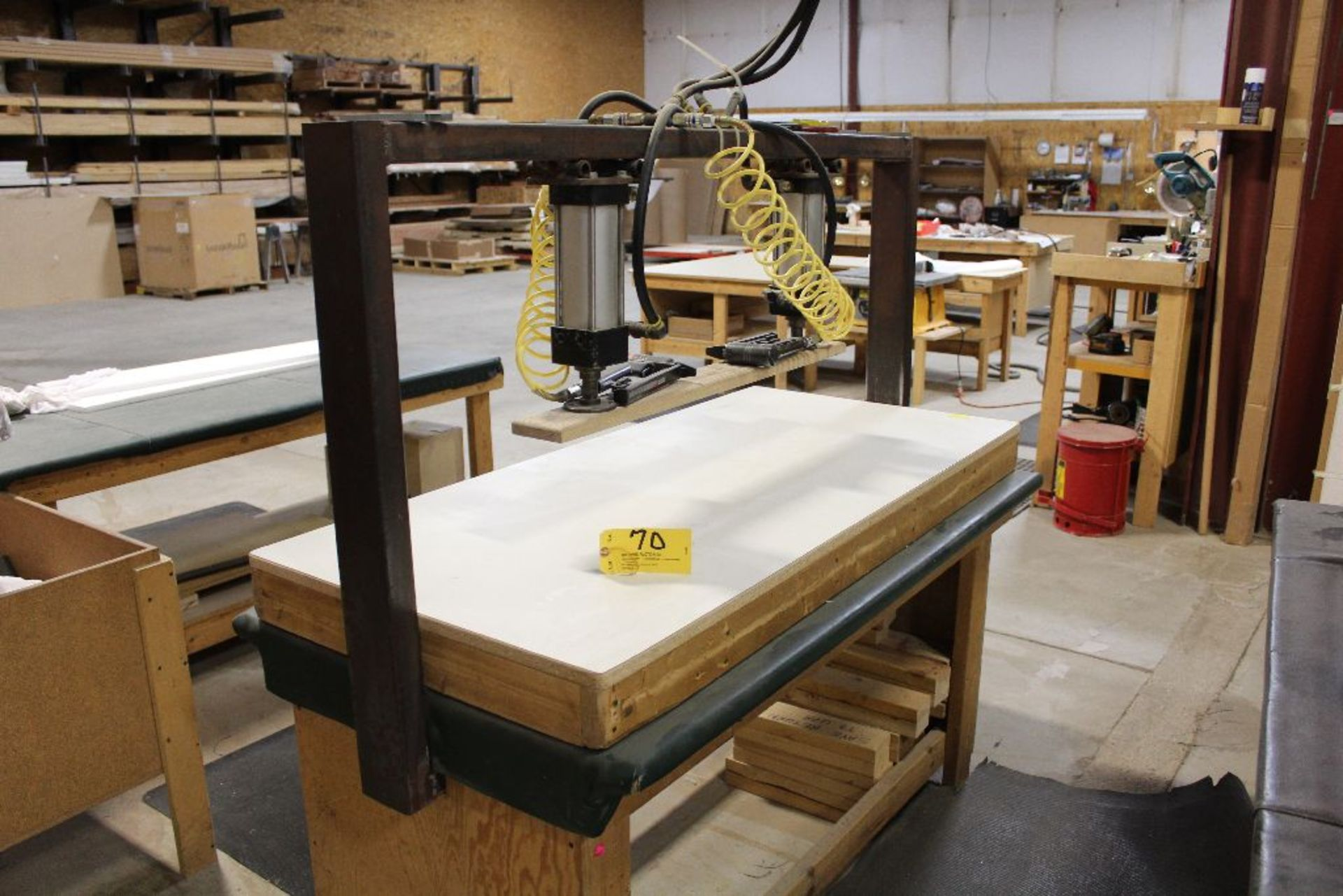 "Lot 070 - Twin pnuematic cylinder press for foam cushion fabric installation, shopmade, 60"" x 28"" x 36"", w/2"