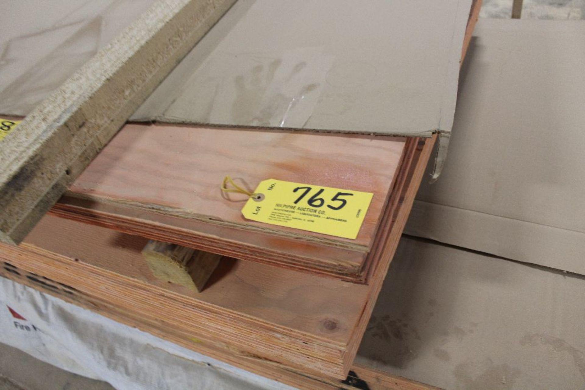 "Lot 765 - Lumber, (40) Fire retardent playwood, 3/4"" x 4' x 10': (5) 3/4"" 4' x 8';(4) 1/2"" 4' x 8'; (2) 1/7"" 4"