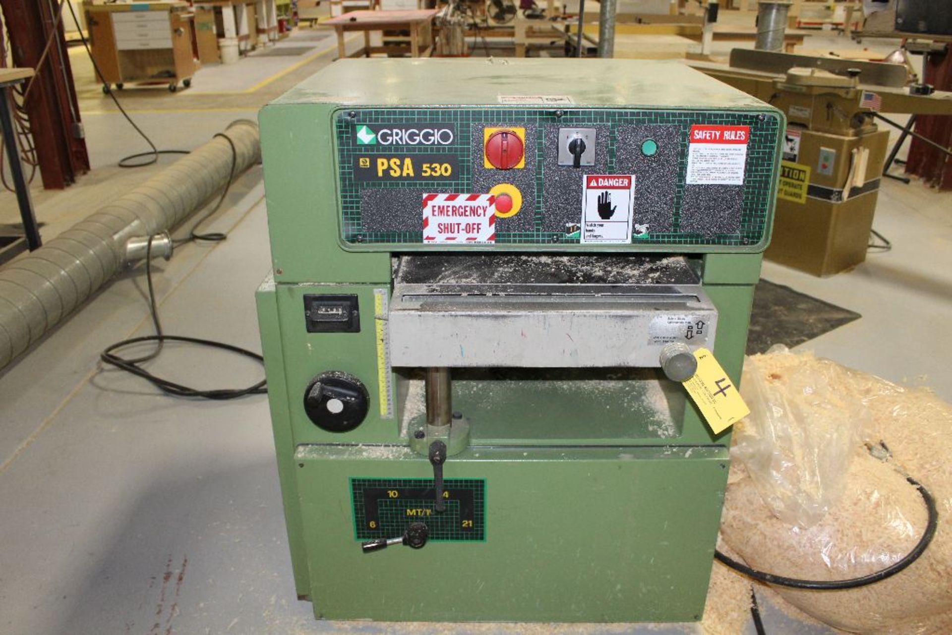 "Lot 004 - 2005 Griggio thickness planer PSA-530, sn 94003894, W-21"", volts 230/460."