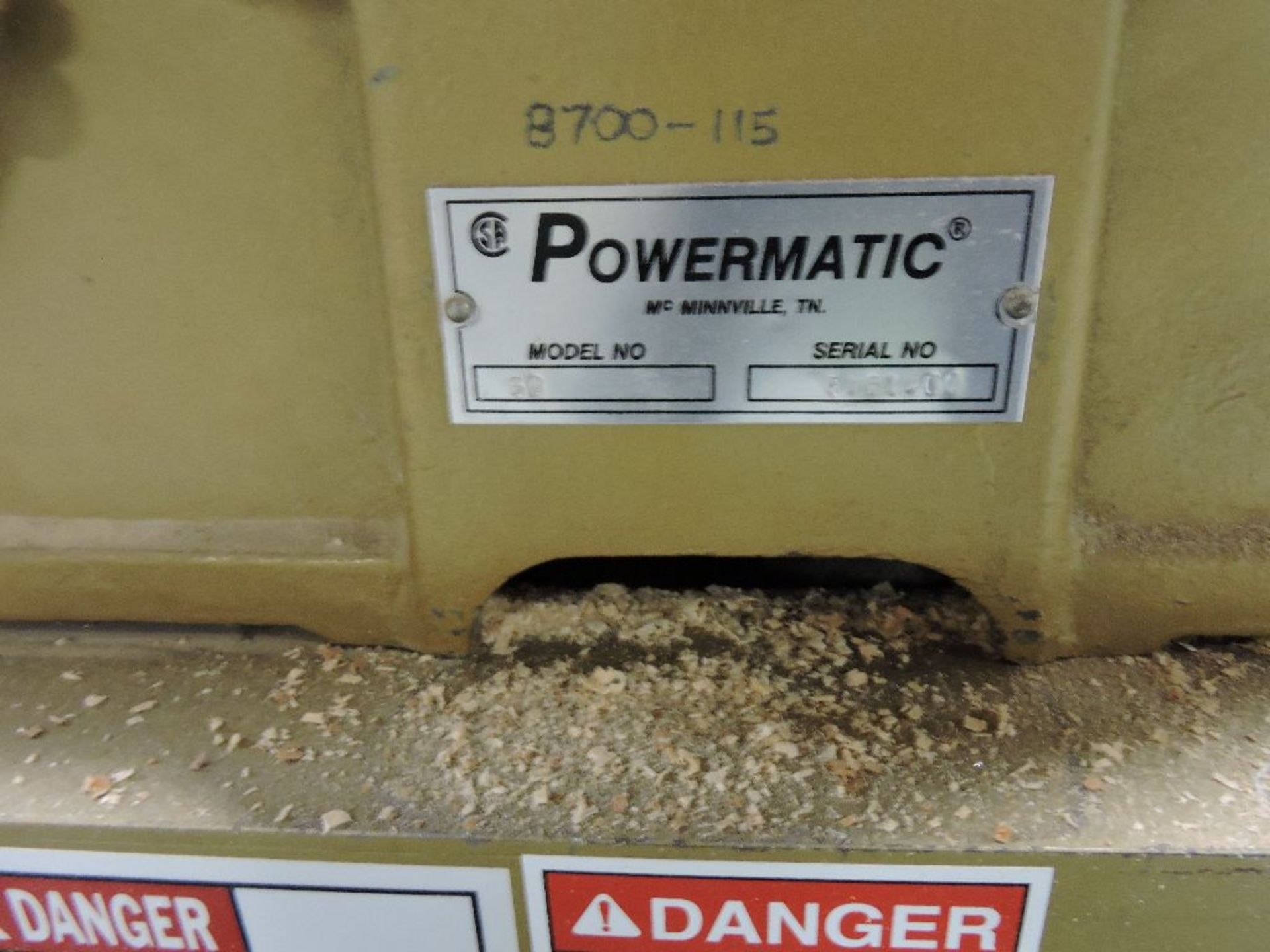 """Lot 005 - Powermatic jointer, model 60, sn 9461407. 6"""", Volts 20A, 230/460."""