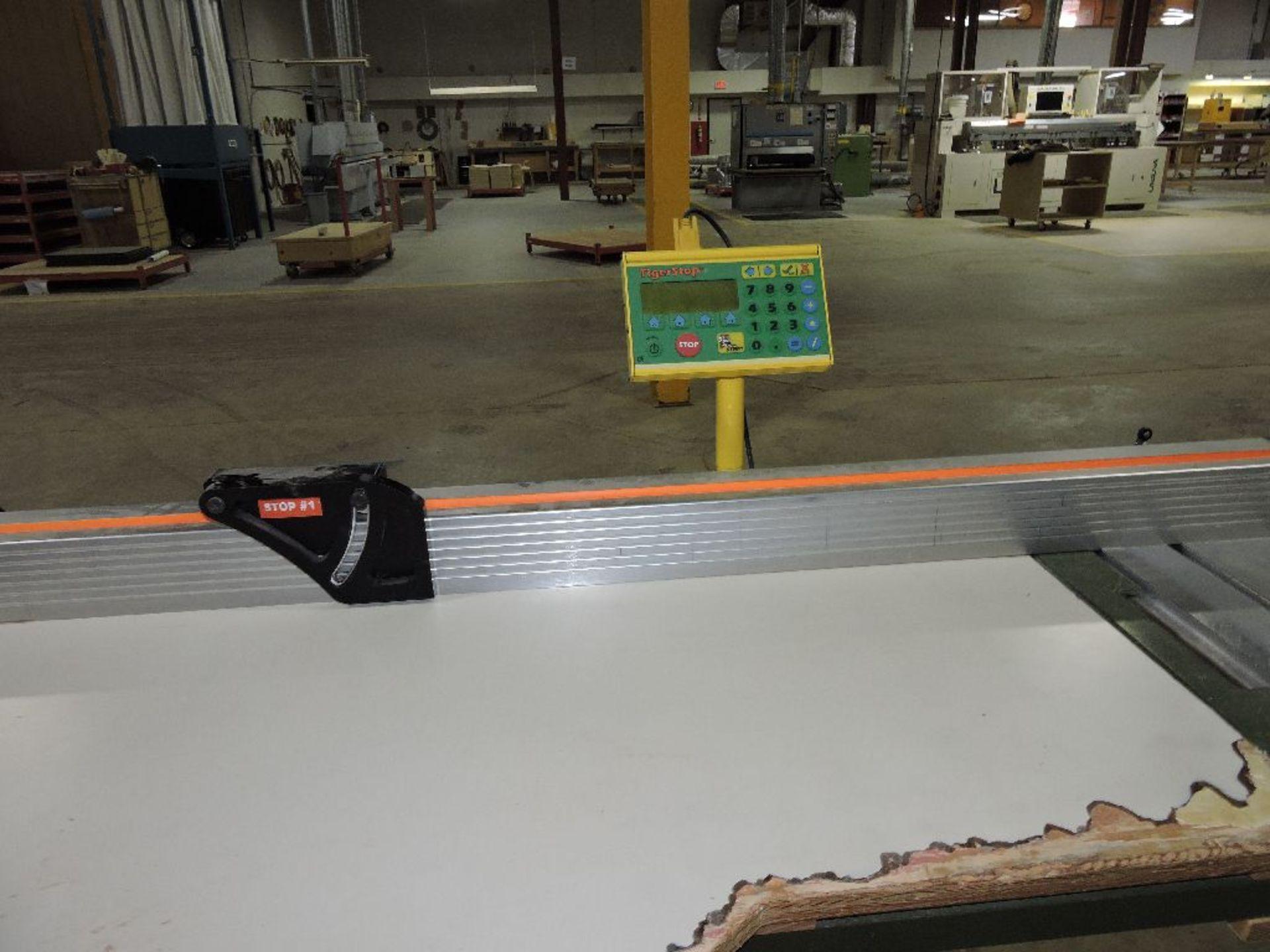 Lot 011 - 1993 Holzer Super Slide tablesaw, model 1245, sn 409/9-302, w/Tiger stop, 10'x 7'.