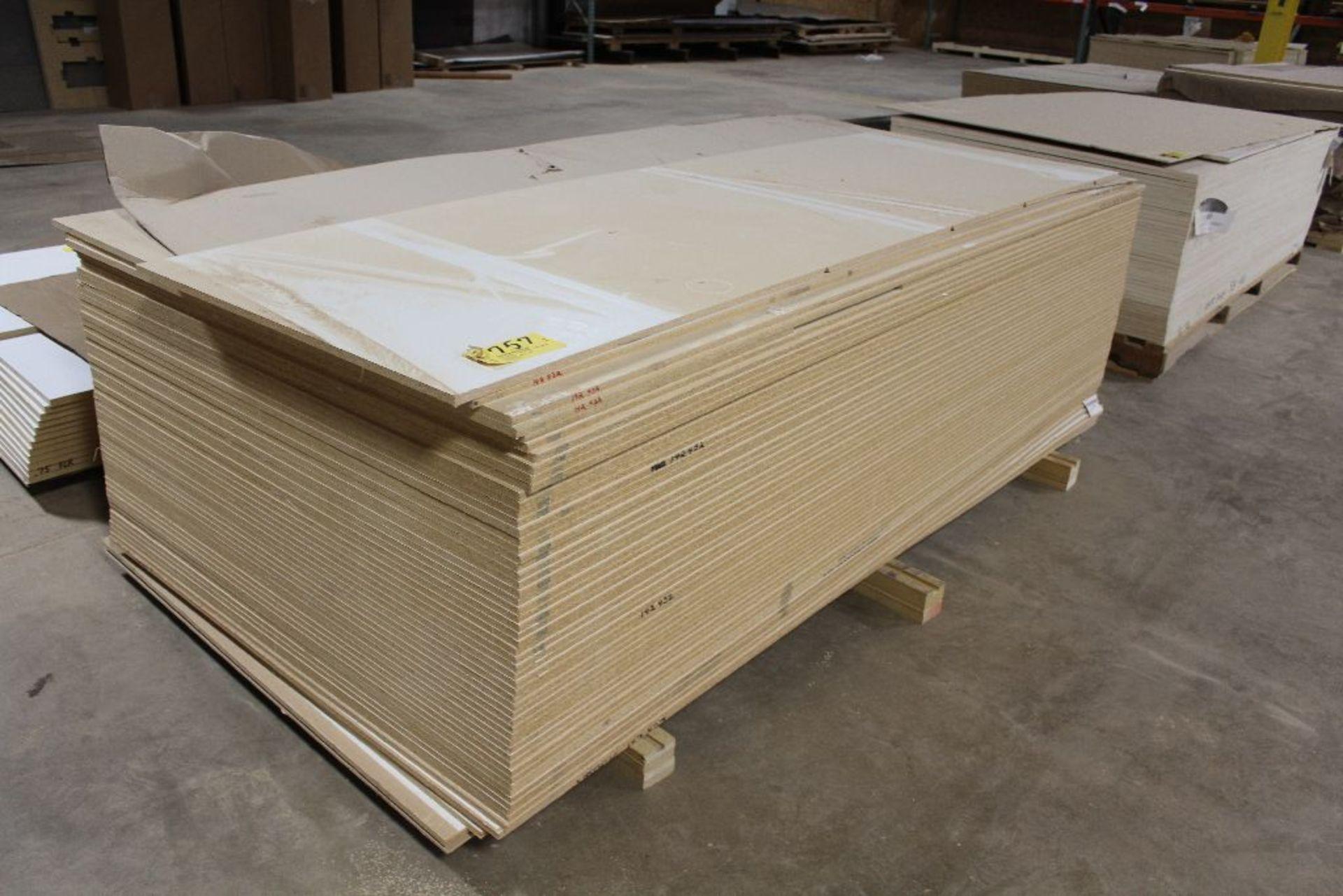 "Lot 757 - Lumber, (61) Vinyl PB white 2 sided, 1/2"" x 49"" x 97""."