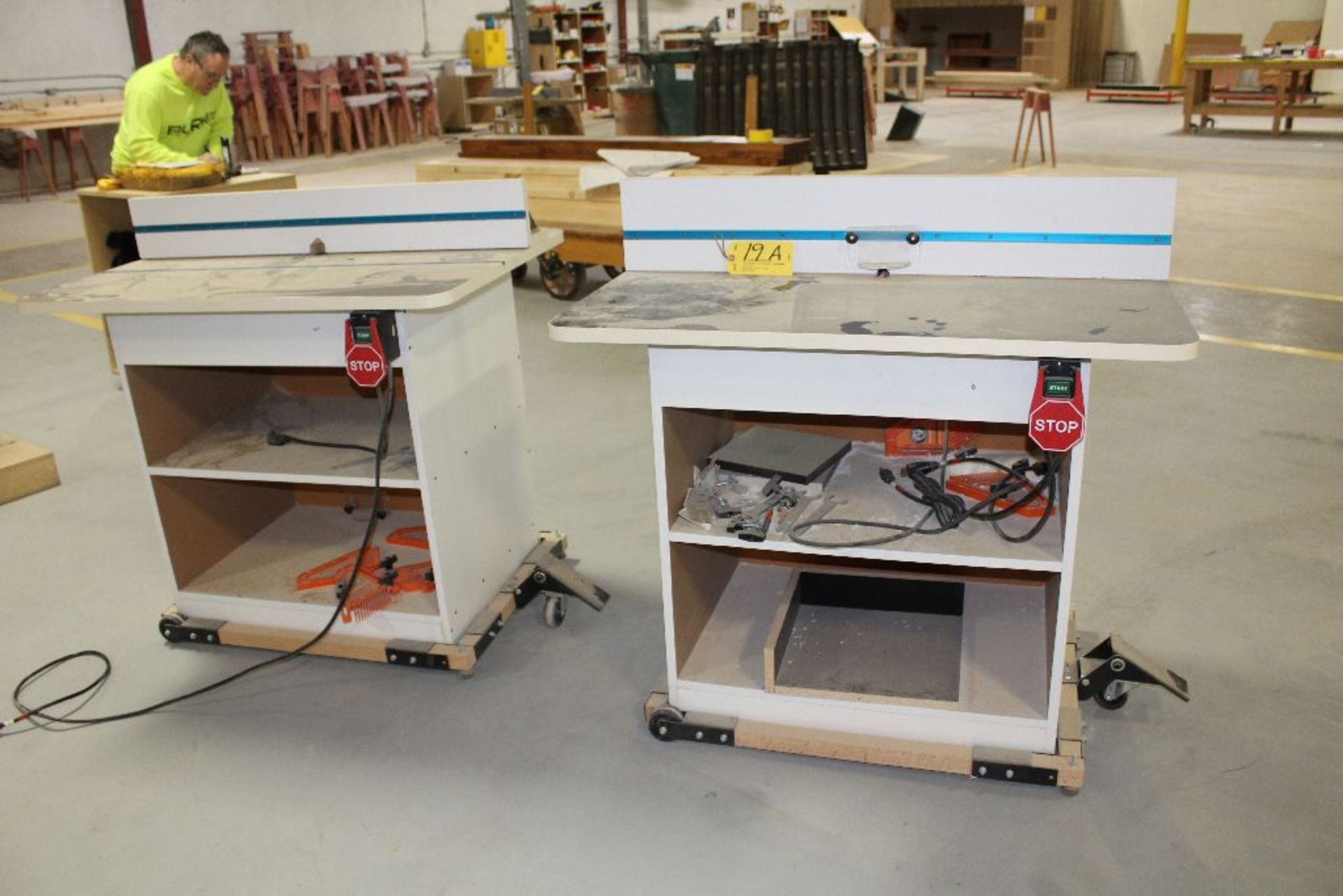 Lot 019A - Router tables on casters.